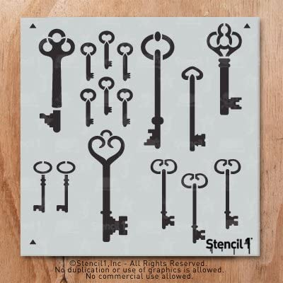 Stencil1 Skeleton Keys Wallpaper Pattern Stencil 11 X 11