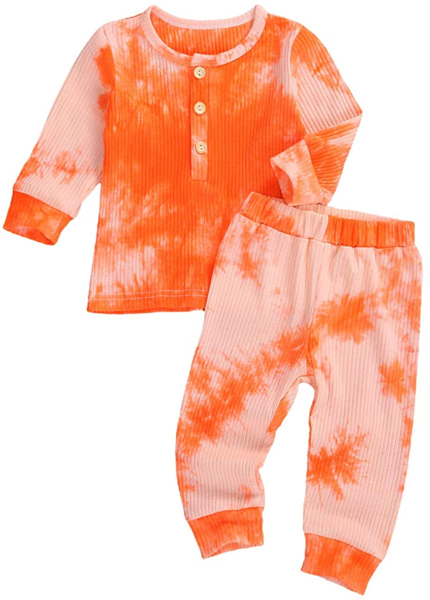Toddler Baby Girl Boy 2 Piece Tie Dye Pajamas Set Ribbed Long Sleeve Sweatshirt and Pants Sport Outfit Fall Winter Clothes