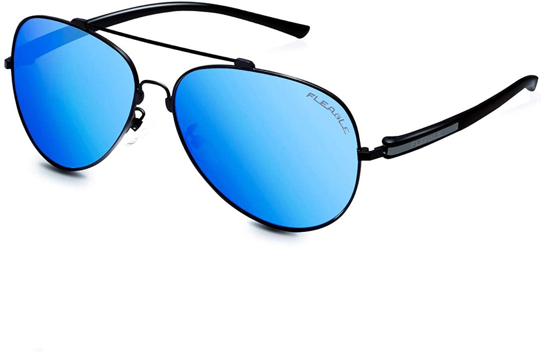 Polarized Blue Aviator Sunglasses for Women,Men Black Sunshade,UV400 Protection