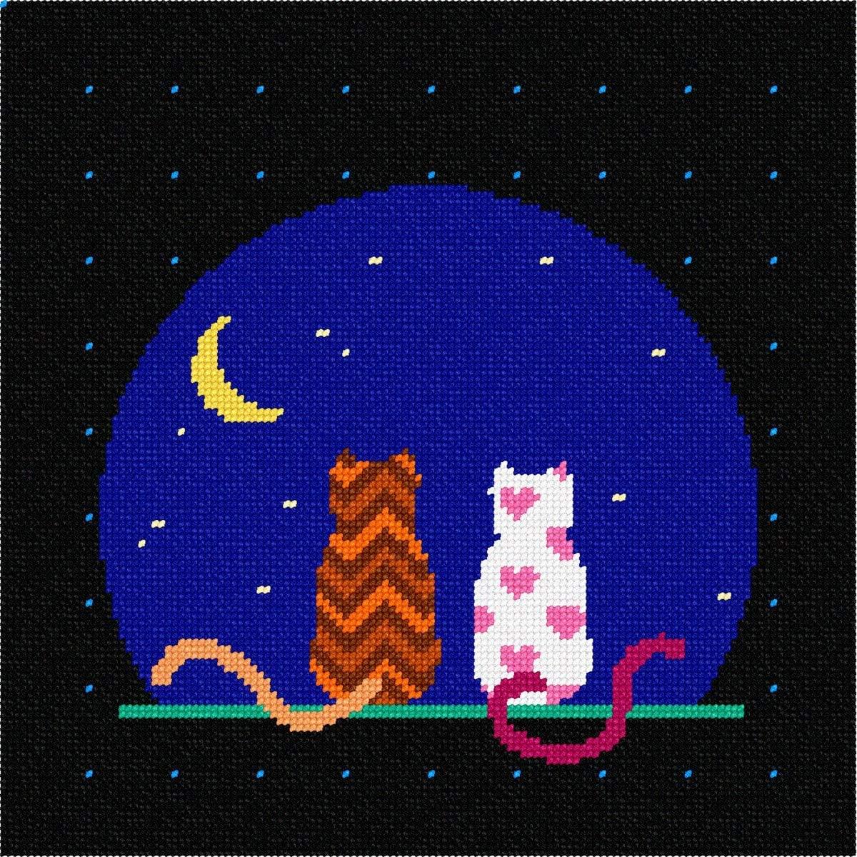 pepita Cats and Moon Needlepoint Kit