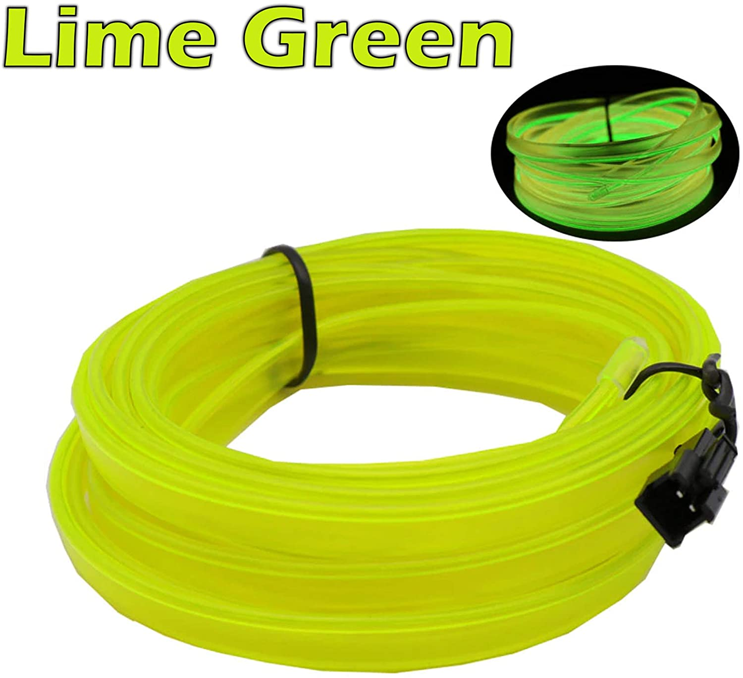 3-Pack 2m/6.5ft Lime Green Neon LED Light Glow EL Wire - 2.3 mm Thick - Powered by 12V USB Port - Craft Neon Wire String Light for DIY Project Costume Accessories Cosplay