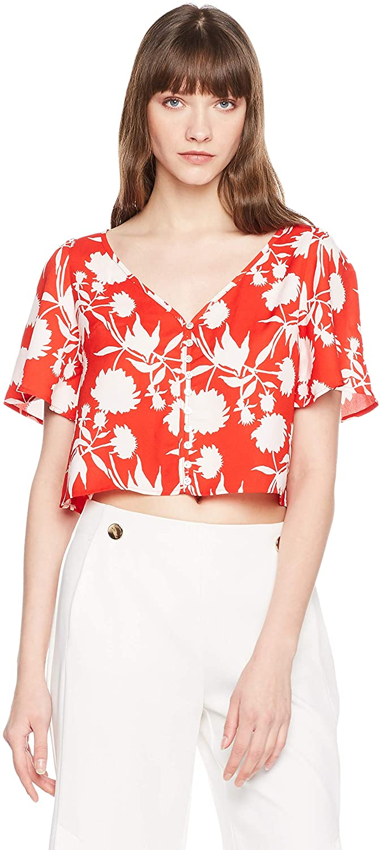 Elise Bloom Women's V-Neck Short-Sleeve Shirt Simple Floral-Printed Blouse