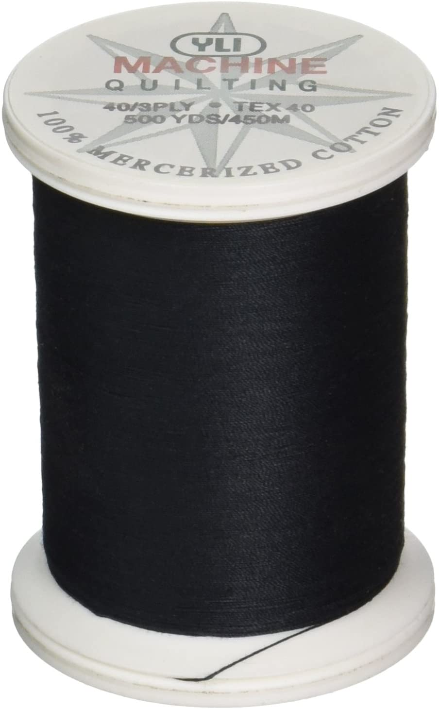 YLI 24450-BLK 3-Ply 40wt T-40 Cotton Quilting Variegated Thread, 500 yd, Black