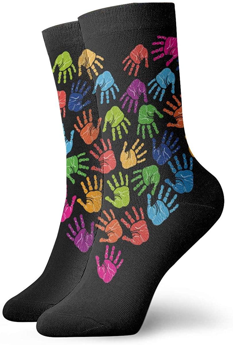 Autism Awareness Handprint Heart Short Crew Socks Dress Socks Athletic Socks