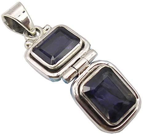 SilverStarJewel 925 Fine Silver Iolite tcw 4.4 Pendant 3.3 cm 4.6 Grams Handmade Jewelry