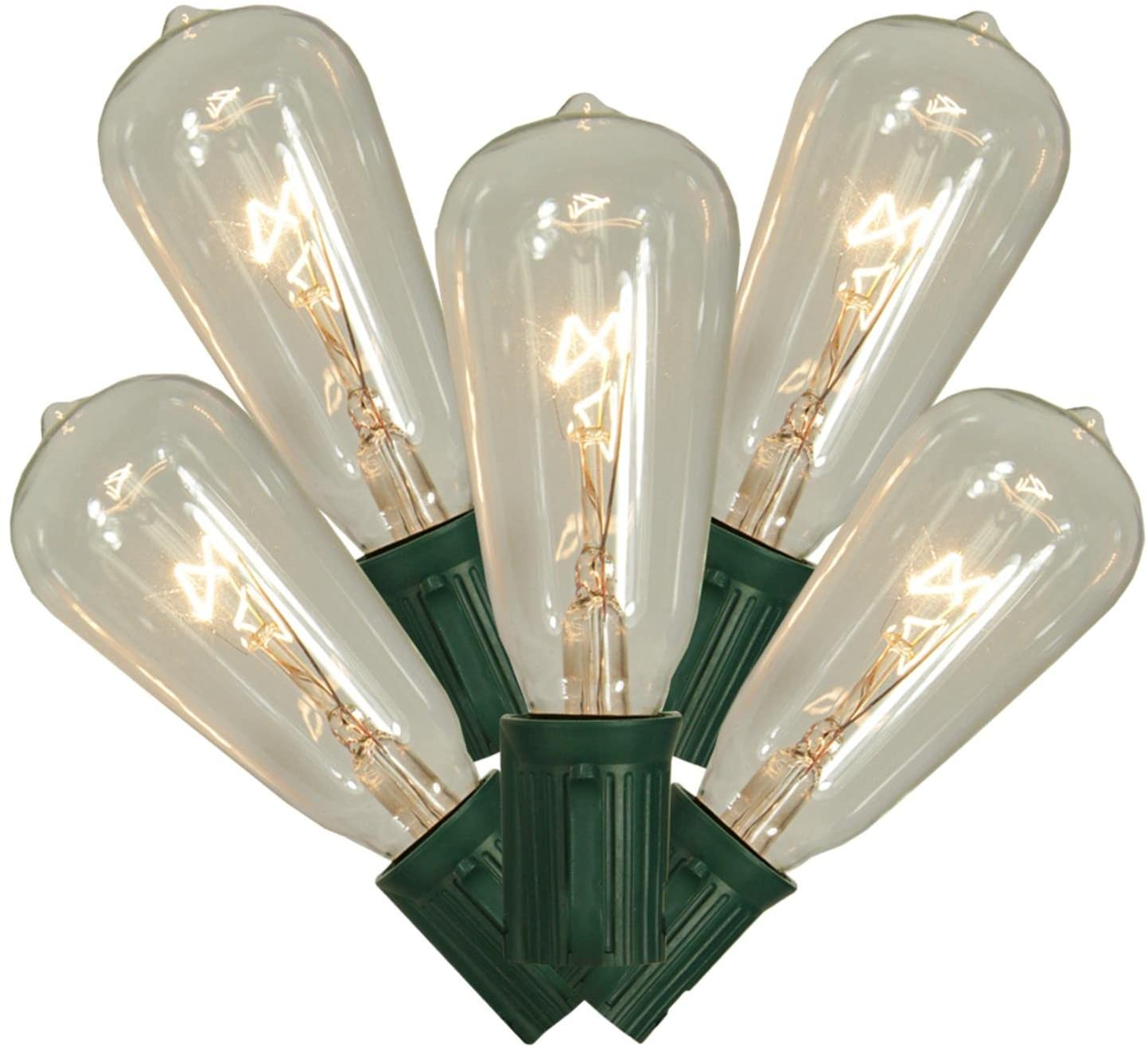 Vickerman Set of 10 Transparent Clear ST40 Edison Style Christmas Lights - Green Wire