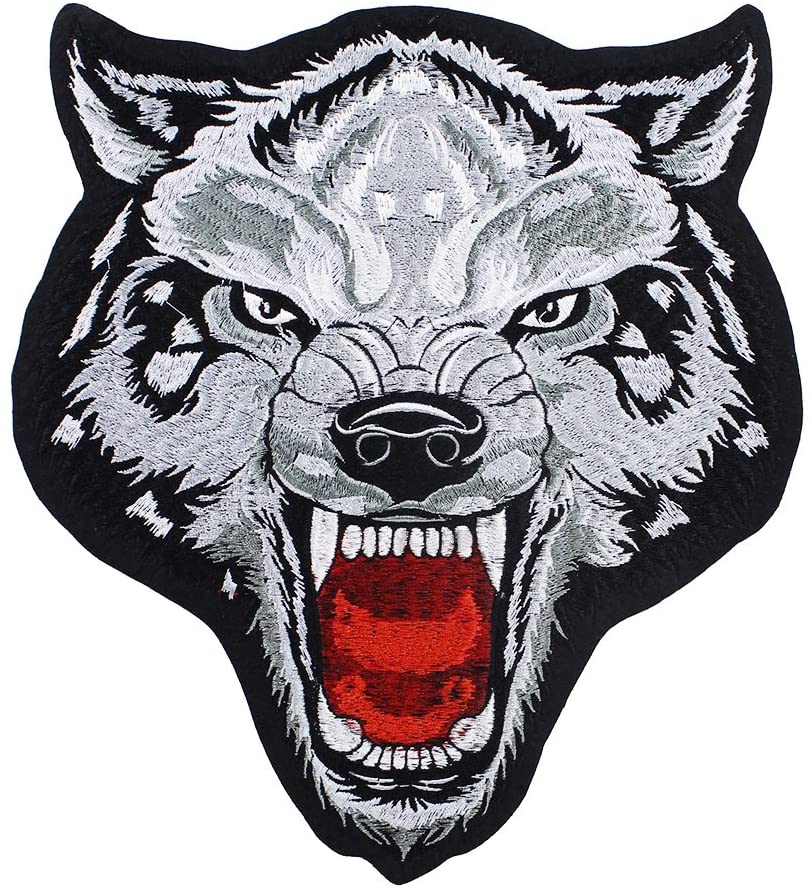 1piece Cool Tiger Flowers Tiger Eagle Wolf Head Sew on Embroidery Applique Patches for Clothes T-shirt DIY Apparel Accessories TH987 (wolf 1014)