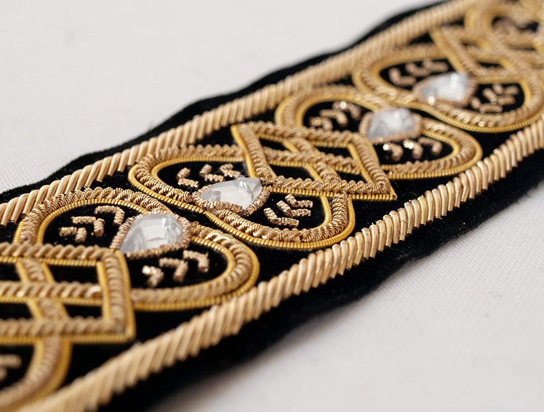 Gold Bullion on Black Velvet. Tudor Reproduction. Elizabethan, Hand-Beaded 1½