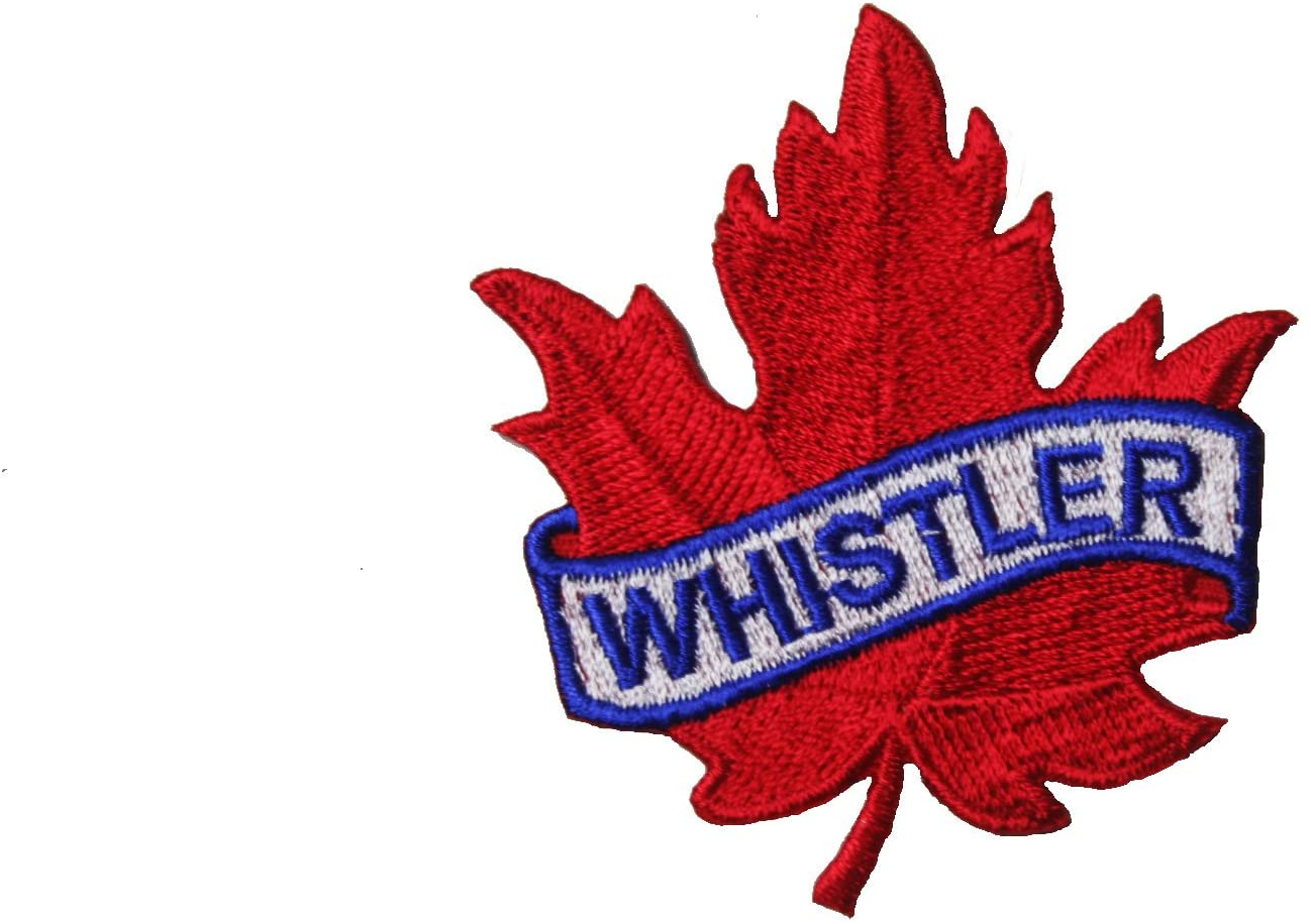 WHISTLER Red Maple Leaf Embroidered Iron on Patch Crest Badge ...Size :2.5 X 2.5 Inch ... New