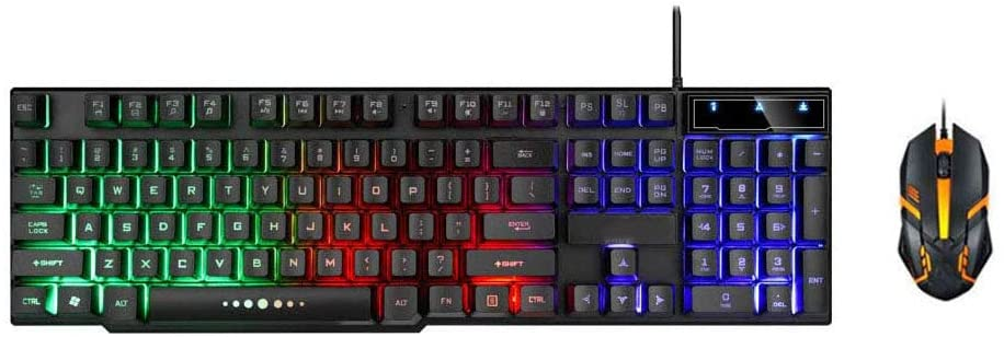 Gaming Keyboard and Mouse Combo, Rainbow Backlit Mechanical Feeling Keyboard with 4 Colors Breathing LED Backlight Mouse for Office and Game (Black)