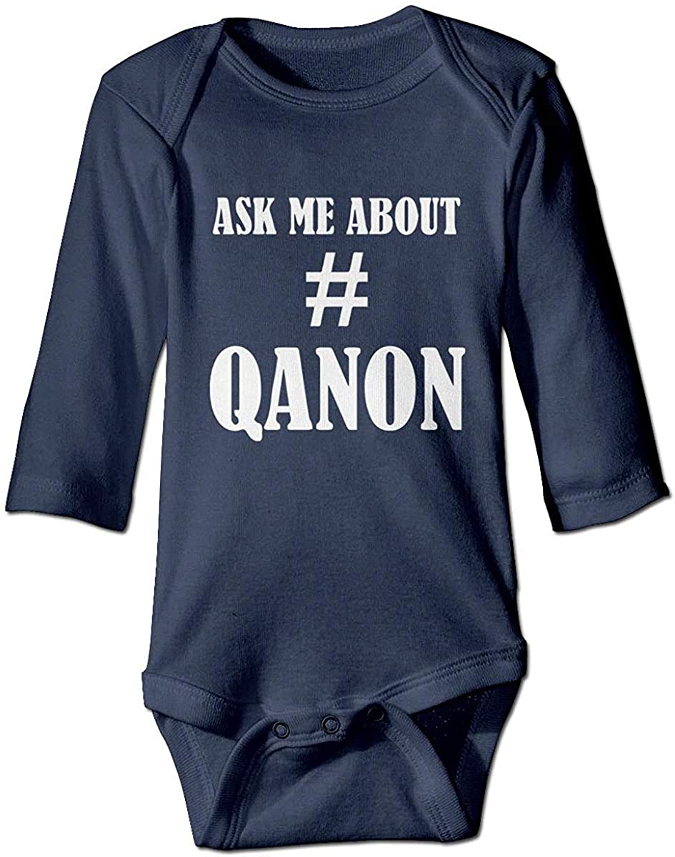 Pengshiliu Q Army Qanon Ask Me About Infant Toddler Climbing Bodysuit Long Sleeve - Navy