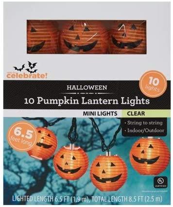 Way to Celebrate 10 Pumpkin Lantern Halloween Lights - Indoor/Outdoor Light String (8.5 Feet)