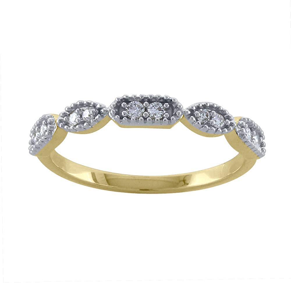 14K Gold Stackable Band Ring Jewelry Gift for Women 0.14 ct Round Cut Real Diamond H/SI1