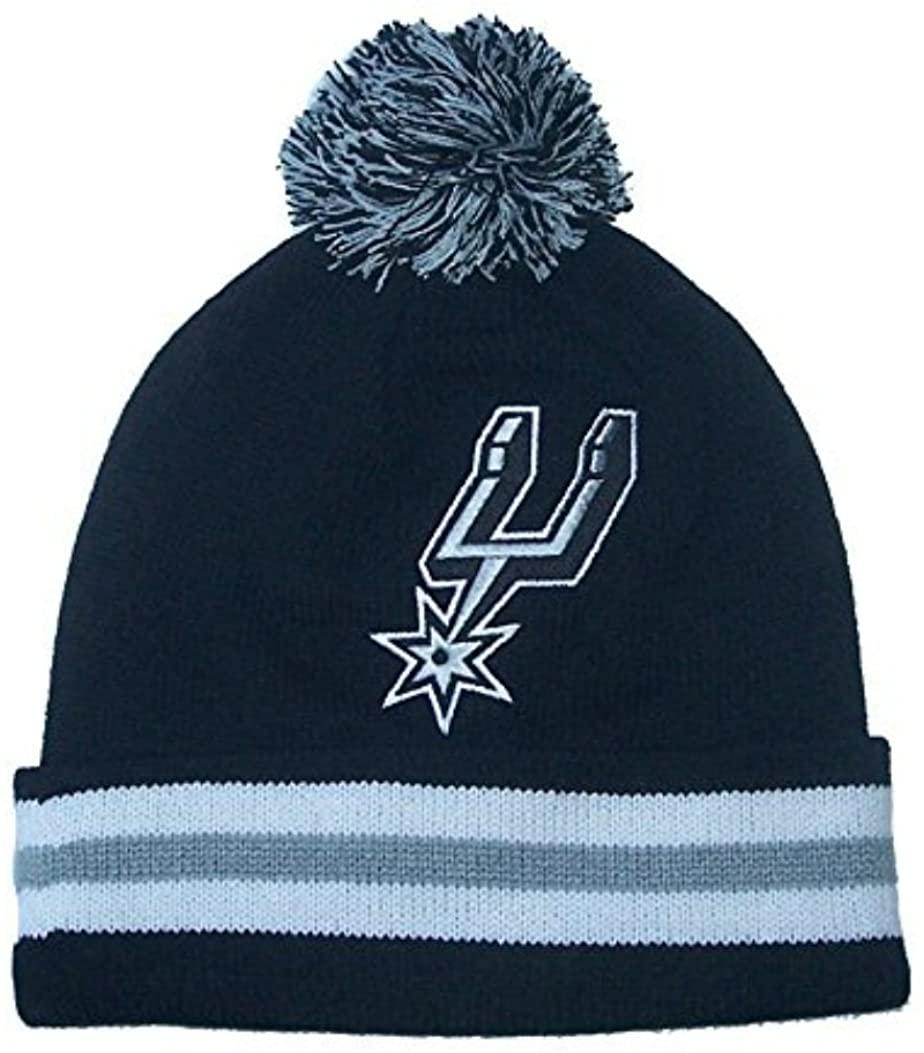 Mitchell & Ness San Antonio Spurs Adult Cuff Knit Beanie w/ Pom One Size Fits All Hat Cap - Black