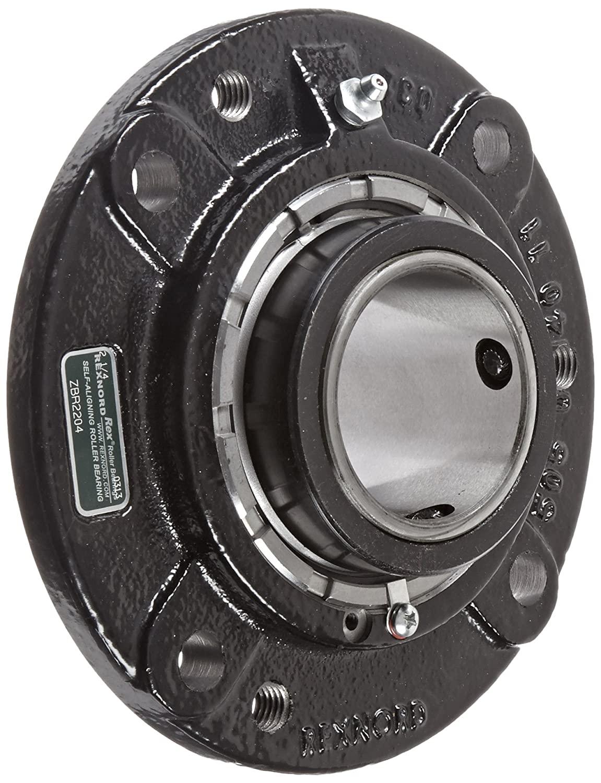 Rexnord ZBR2204 Round Flange Block, 4 Bolt Holes, Relubricatable, Non-Expansion, Cast Iron, Setscrew Locking Collar, Inch, 2-1/4