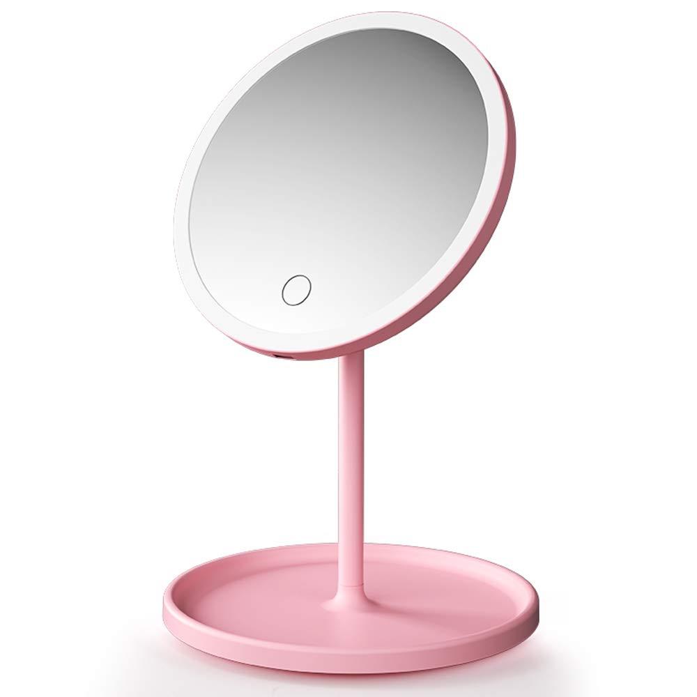 Led Makeup Mirror With Lamp Student Small Mirror Desktop Female Fill Light Dormitory Desktop Portable Folding Vanity Mirror