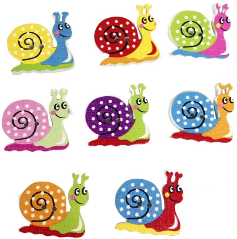 Healifty 50pcs Wooden Snail Buttons Animal Buttons DIY Sewing Scrapbooking Craft Embellishment (Assorted Color)