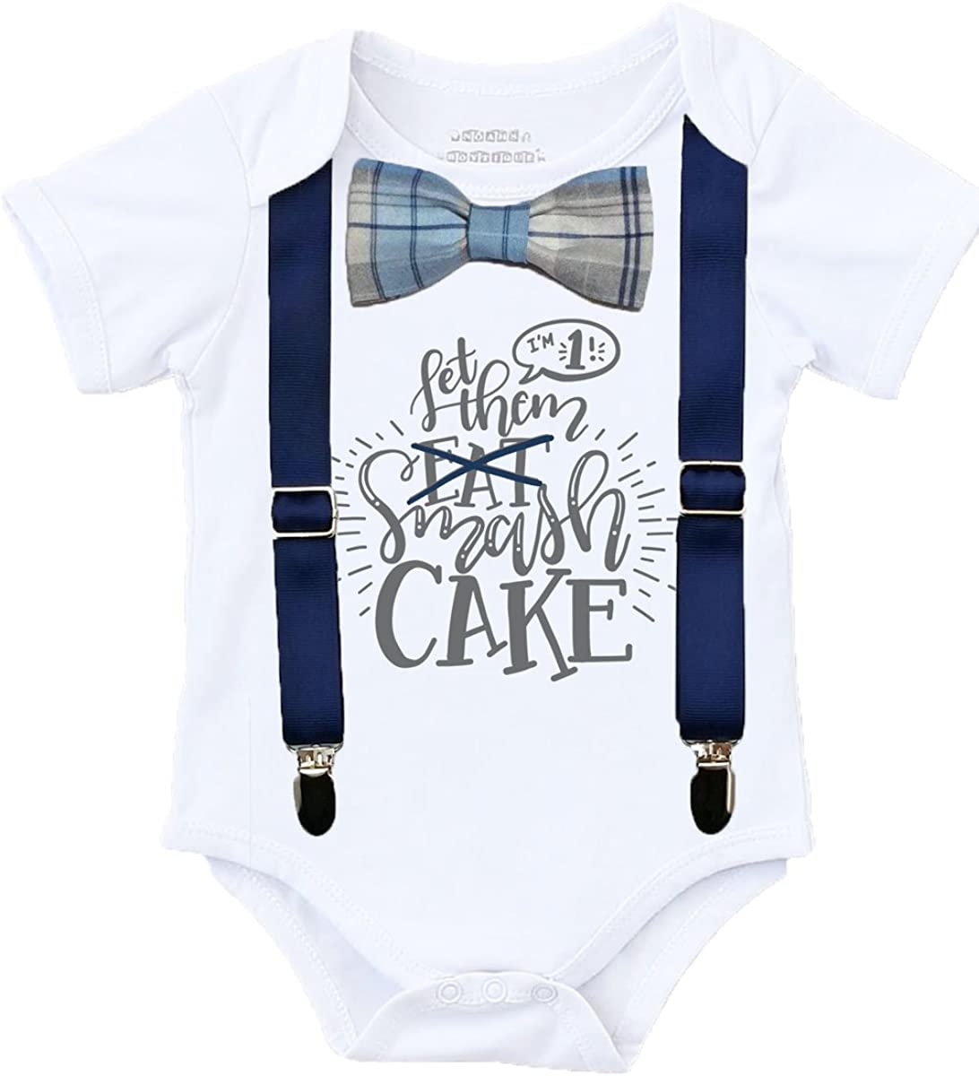 Noah's Boytique Cake Smash Outfit Boy with Bow Tie and Optional Snap On Suspenders