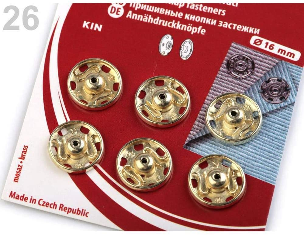 1card 16mm (Size 6) Gold Lt. Sew-on Snap Fasteners, Metal Snaps/Rivets, Hardware Haberdashery
