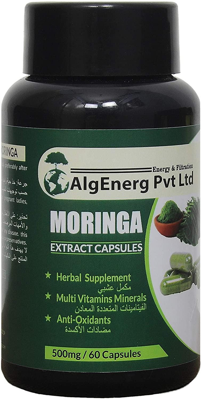 AlgEnerg Organics Moringa Capsules Veg Capsules Nutritionally Rich Herbal Supplement (60 Capsule)
