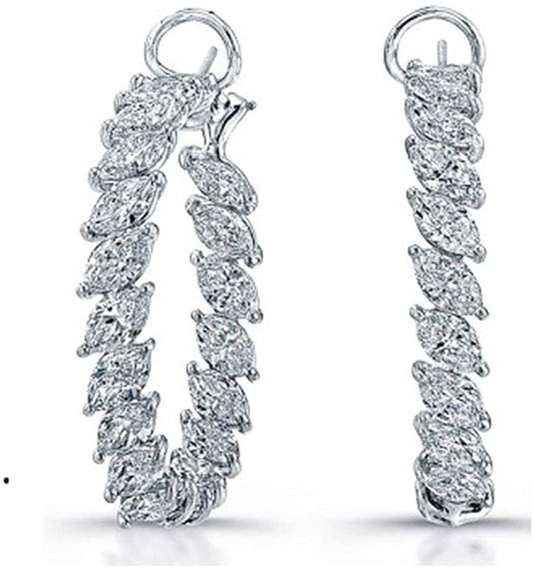 HN Jewels 14K White Gold Plated 1.2 Ct Marquise Shape Sim.Diamond Hoop Huggies Earrings