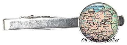 AllMapsupplier Charming Tie Clip Poland map Tie Clip,Poland map Tie Clip Tie Pin,Poland Tie Clip,Poland Tie Clip Tie Pin,Poland Chain map Jewelry,A0070
