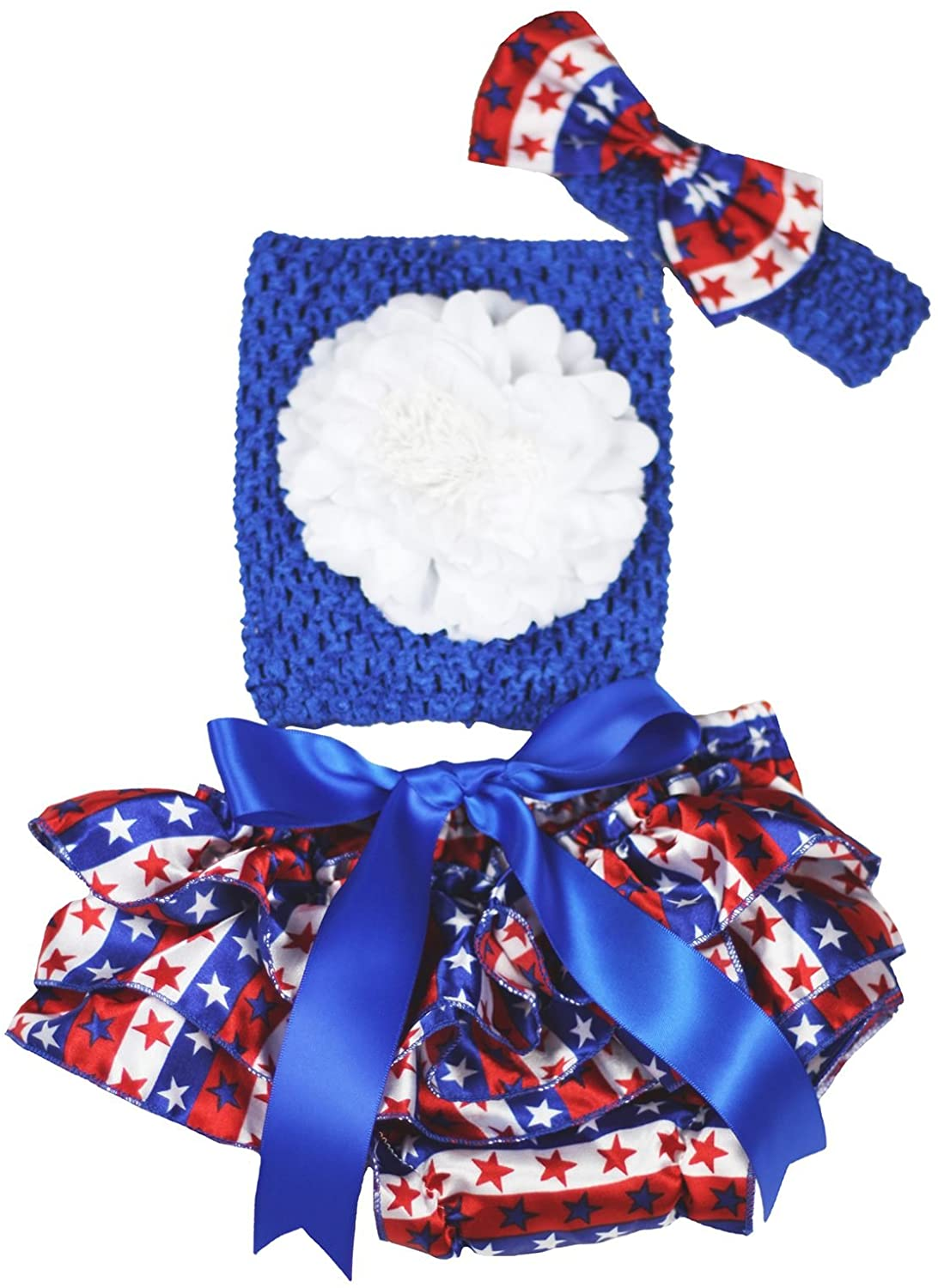 Petitebella White Flower Blue Tube Top Striped Stars Bloomer Baby Outfit 3-12m