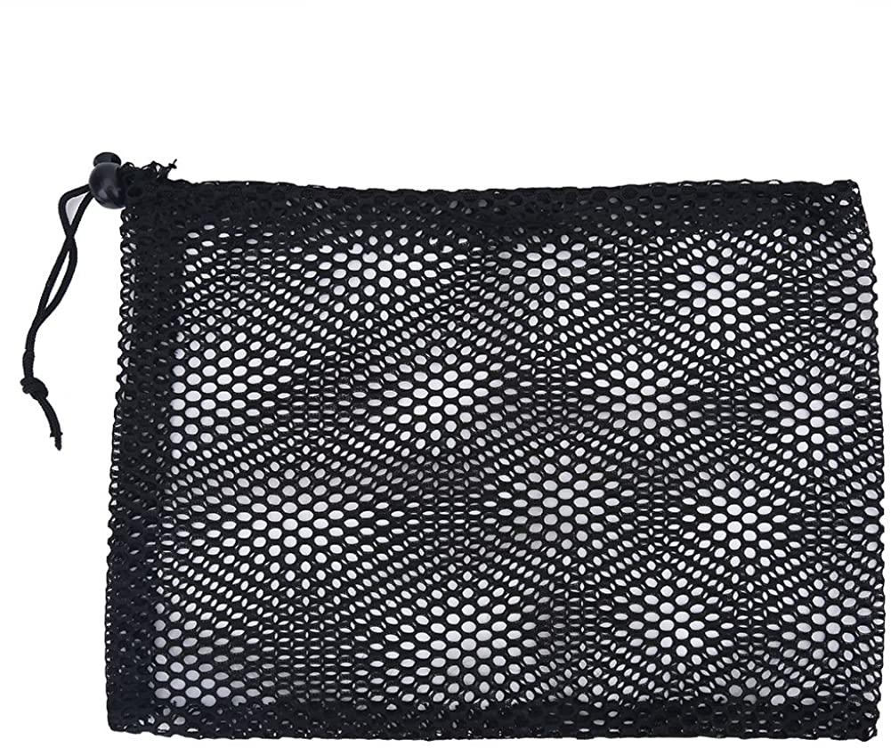 Golf Balls Bag, Mesh Drawstring Pouch Black Nylon Storage Bag Golf Balls Holder Golf Accessory