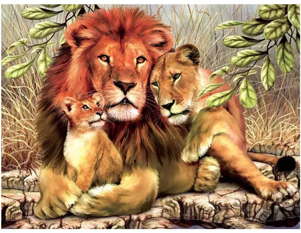 BoutiQ Diamond Painting Square Full Drill Animals - Lion Family, DIY 5D Shiny Beads Paint by Number Kits for Adults Puzzle Picture Home Decoration Wall Decor Stress Relief Pixel Dot Arts Craft