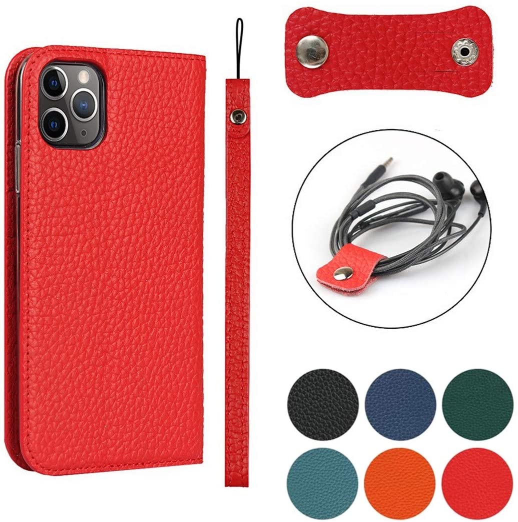 Jaorty iPhone 11 Pro Max Genuine Cowhide Leather Wallet Case,Headset Winder,Flip Folio Magnetic Closure,Card Holder Slots,Kickstand,Cash Pockets Wrist Strap Case for iPhone 11 Pro Max,6.5