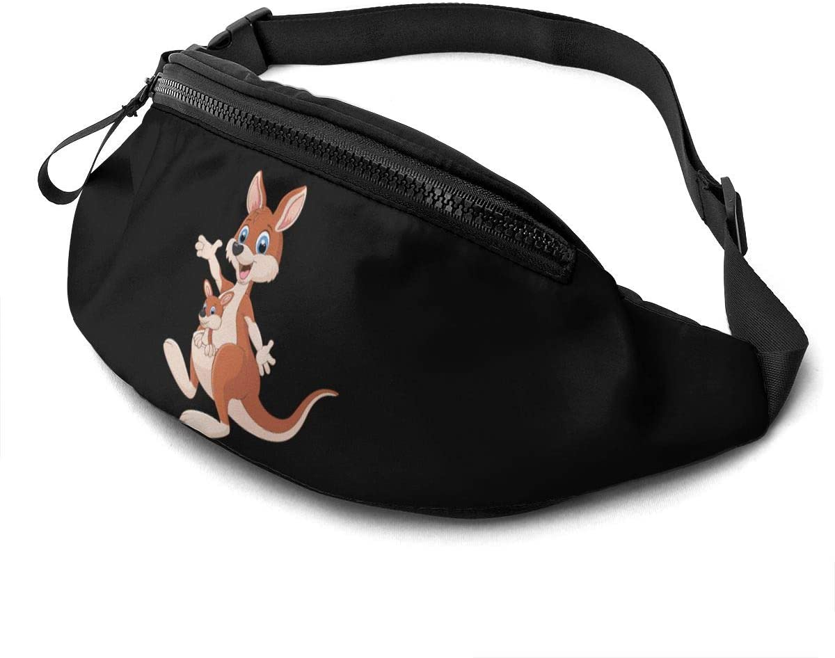 Qwtykeertyi Kangaroo Unisex Fanny Packs for Outdoors Sport Traveling Casual Running Gym with Adjustable Strap Casual Waist Bag