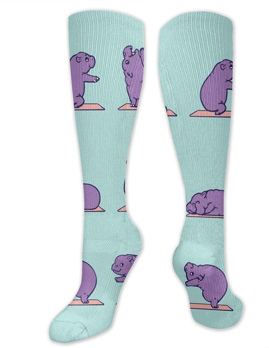 Men Women Knee High Socks Hippo Yoga Boot Long Hose Thigh Stockings
