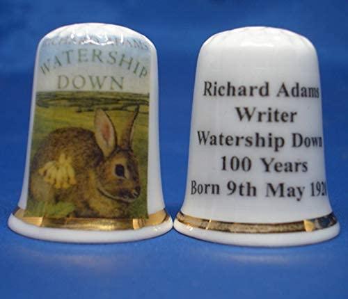Porcelain China Thimble - Richard Adams writer Watership Down - Free Box