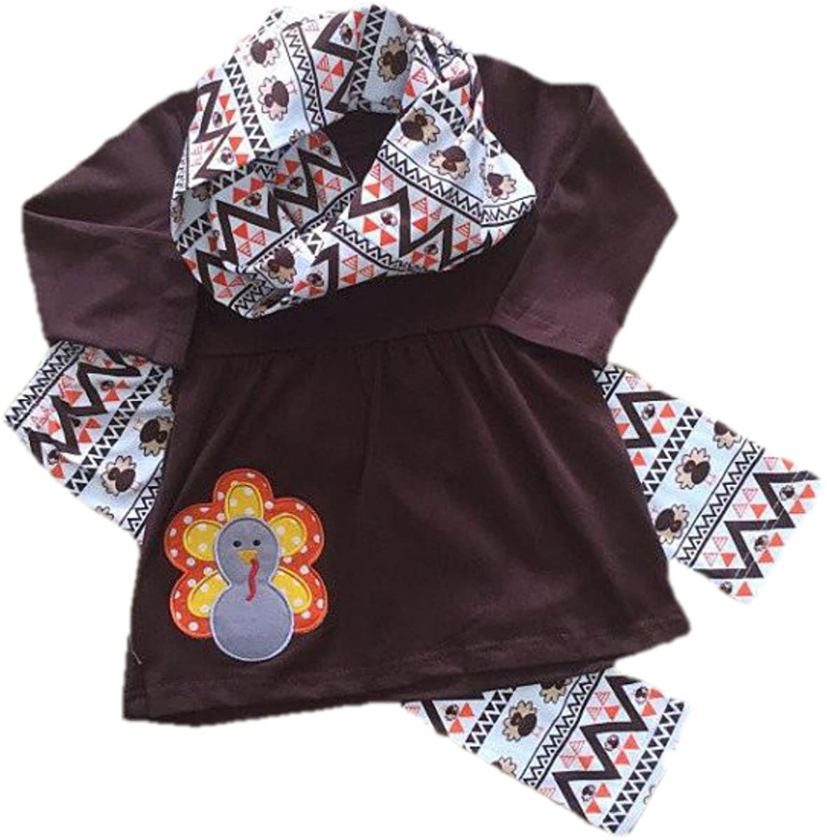 Cute Kids Clothing Toddler Girl/Girl's Thanksgiving Turkey Applique Scarf Outfit Boutique Set 6 Months to 6/7 Years