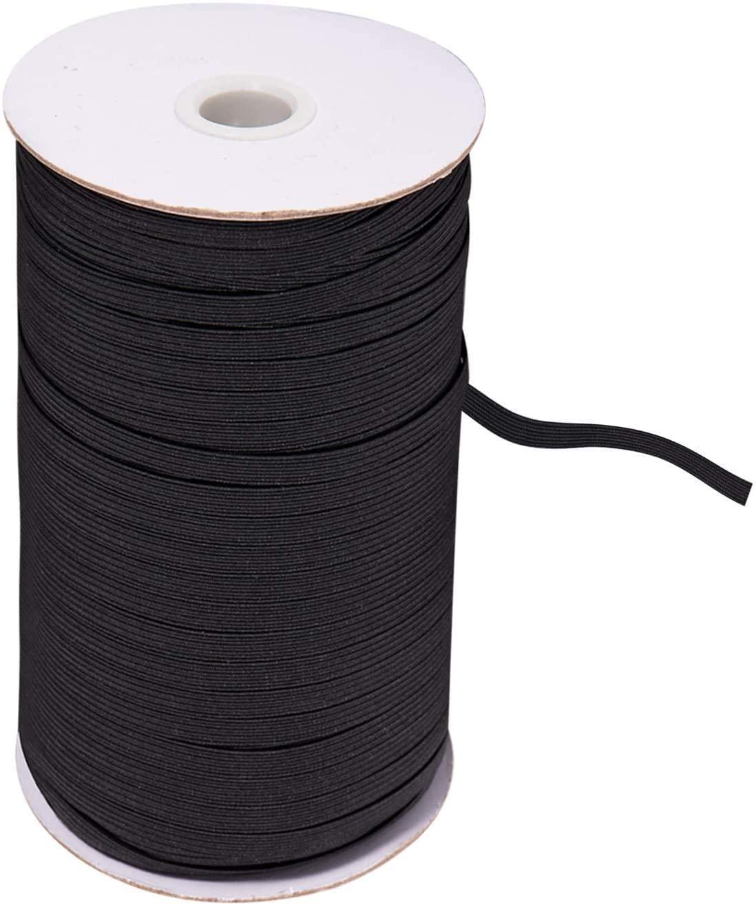 Elastic-Band-100-Yard-Black-Stretch-Cord-Heavy-Sewing-1/3 inch (Black-8mm, 100Y)