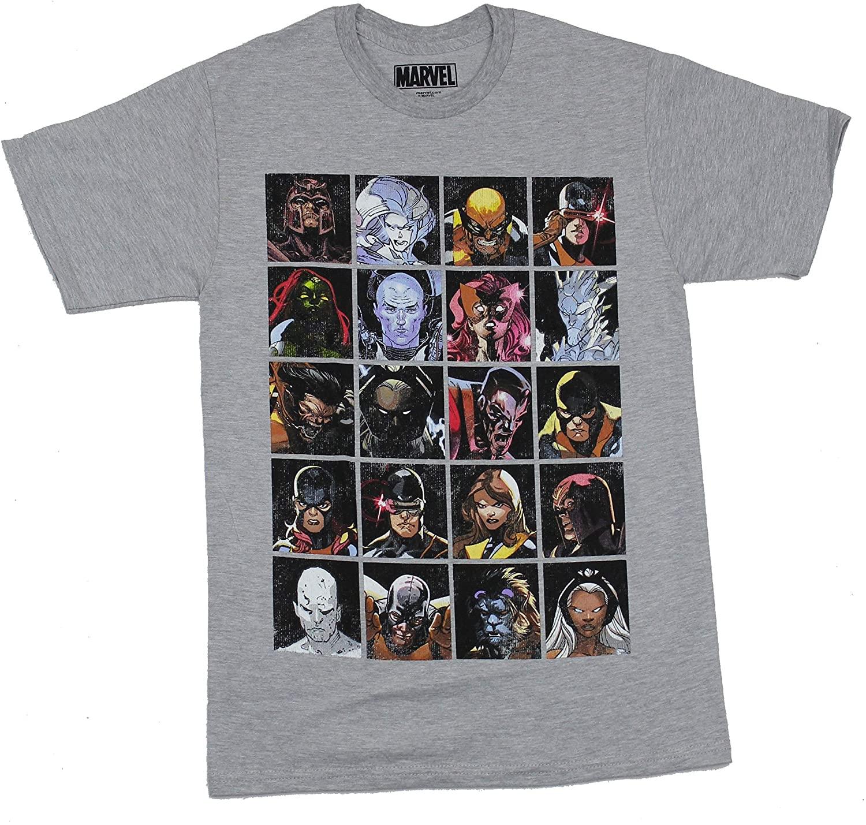 Marvel Men's X-Men Distressed Character Squares T-Shirt