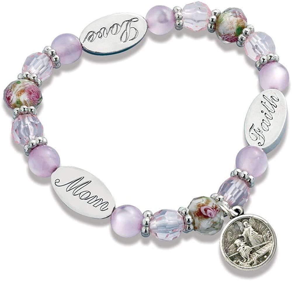 Sonia Jewels Solid Mom Guardian Angel Crystal Stretch Bracelet 7