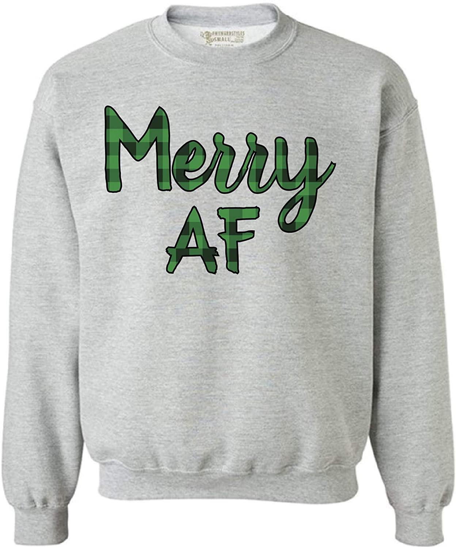 Awkward Styles Ugly Xmas Sweatshirt Christmas Merry AF Plaid Sweater