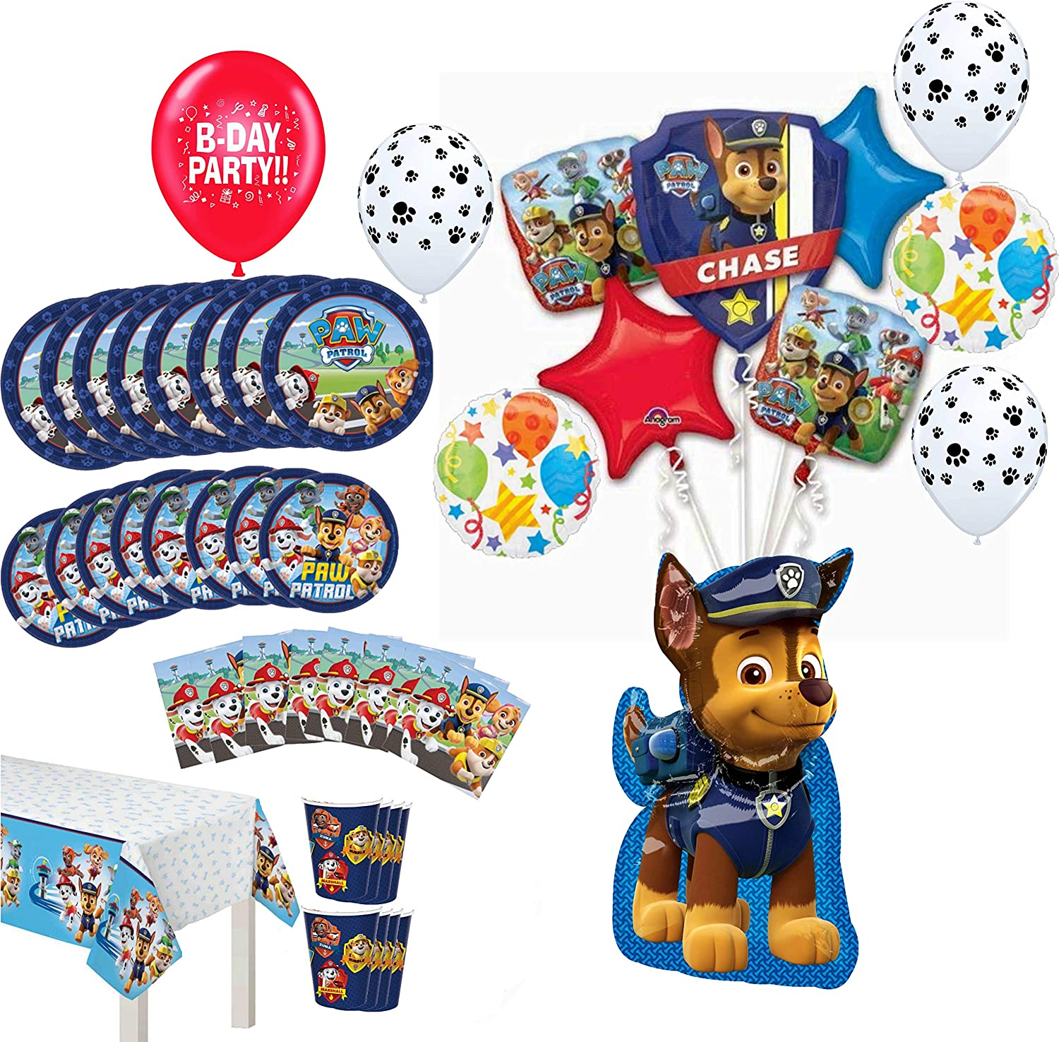 Paw Patrol Party Supplies Birthday 8 Guest Table Decorations and Chase Balloon Bouquet