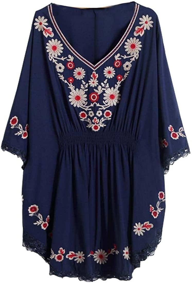 Kafeimali Women Bat Sleeve Tops Embroidered Loose Dress Mexican Bohemian Blouse