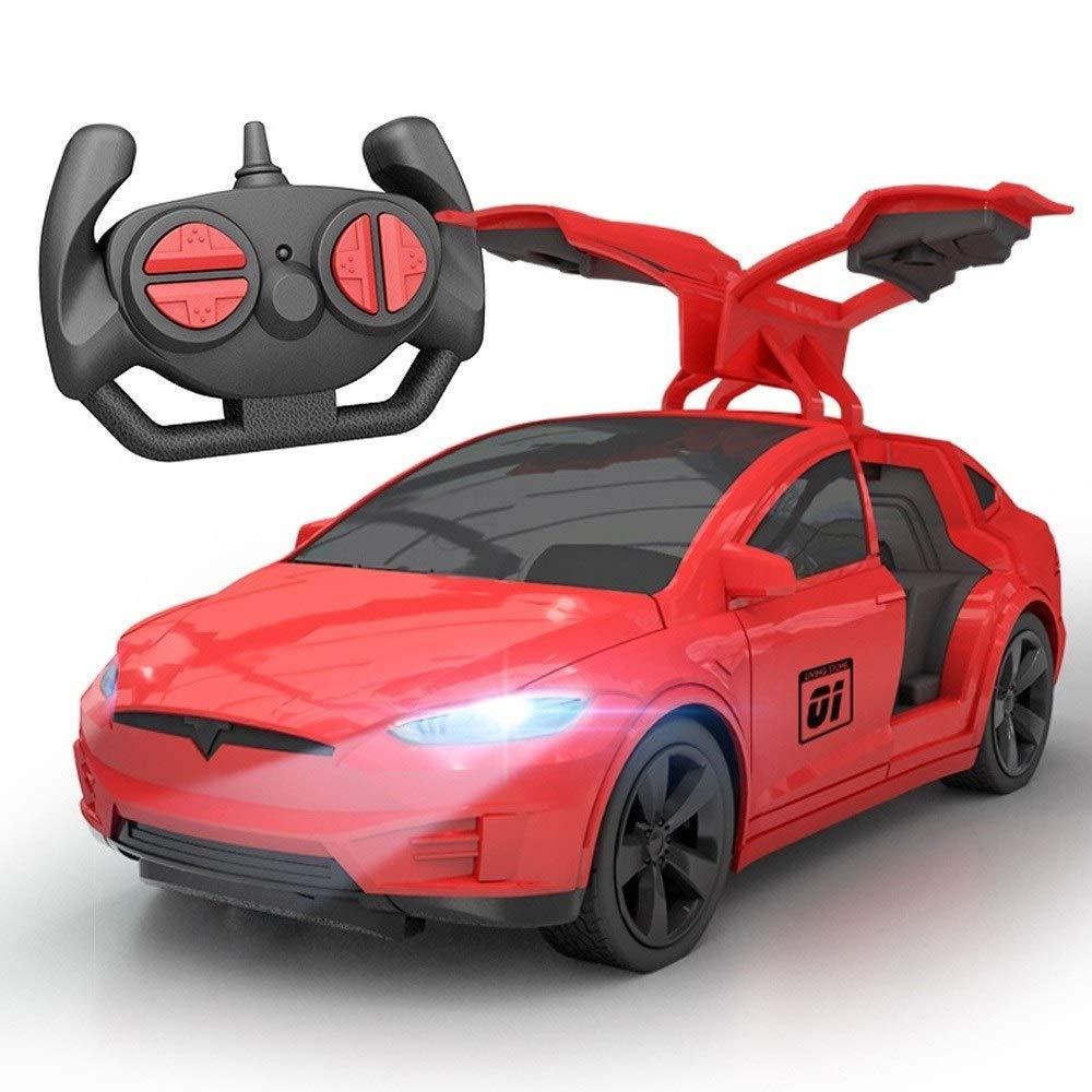 Kikioo 1:24 Teslaa Electric Toy Car Children's Wireless Remote Control Racing Open Door Sports Vehicle Model RC Children Electric Car Rechargeable 2.4G Drift Open Door Toys For Kids Girls Xmas Boy Gif