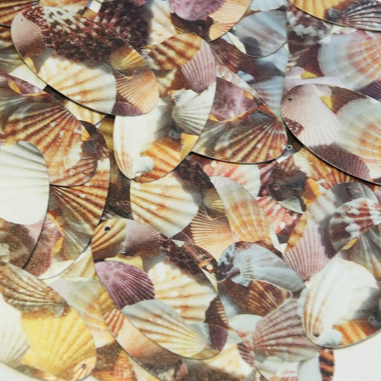 Sequin Brown Pink White Seashell Print Opaque Oval 1.5 inches Couture Loose Paillettes