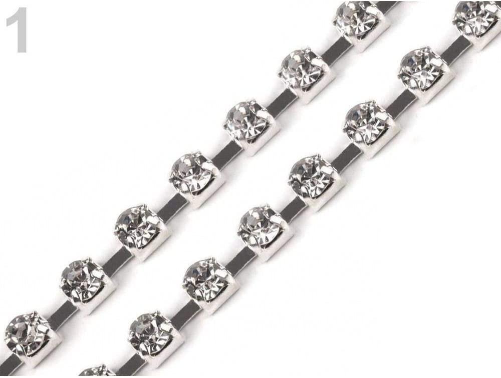 1m Crystal Silver Rhinestone Chain Trim Width 2.9mm, Trimming, Braids and Trims, Haberdashery