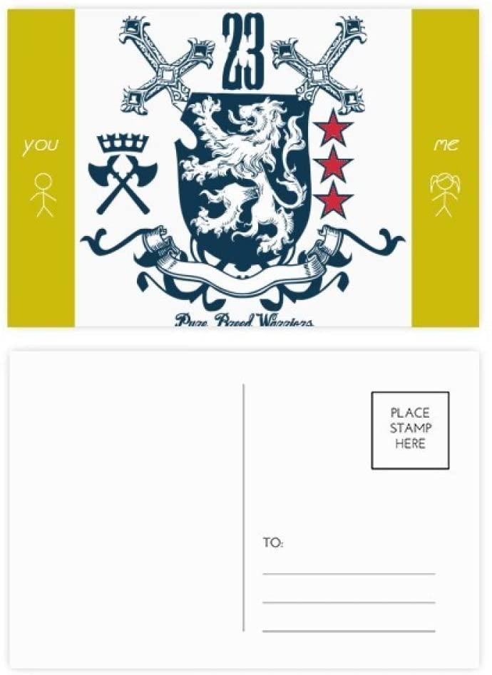 Sword Medieval Knights of Europe Lion Emblem Friend Postcard Set Thanks Card Mailing Side 20pcs