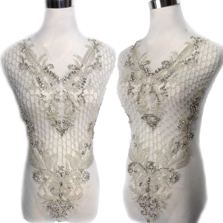 Silver Piece Handmade,Handmade Beaded Patch Wedding Dress Applique Accessories by Piece 38X60CM