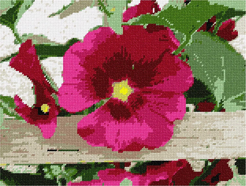 pepita Petunia On Fence Needlepoint Canvas