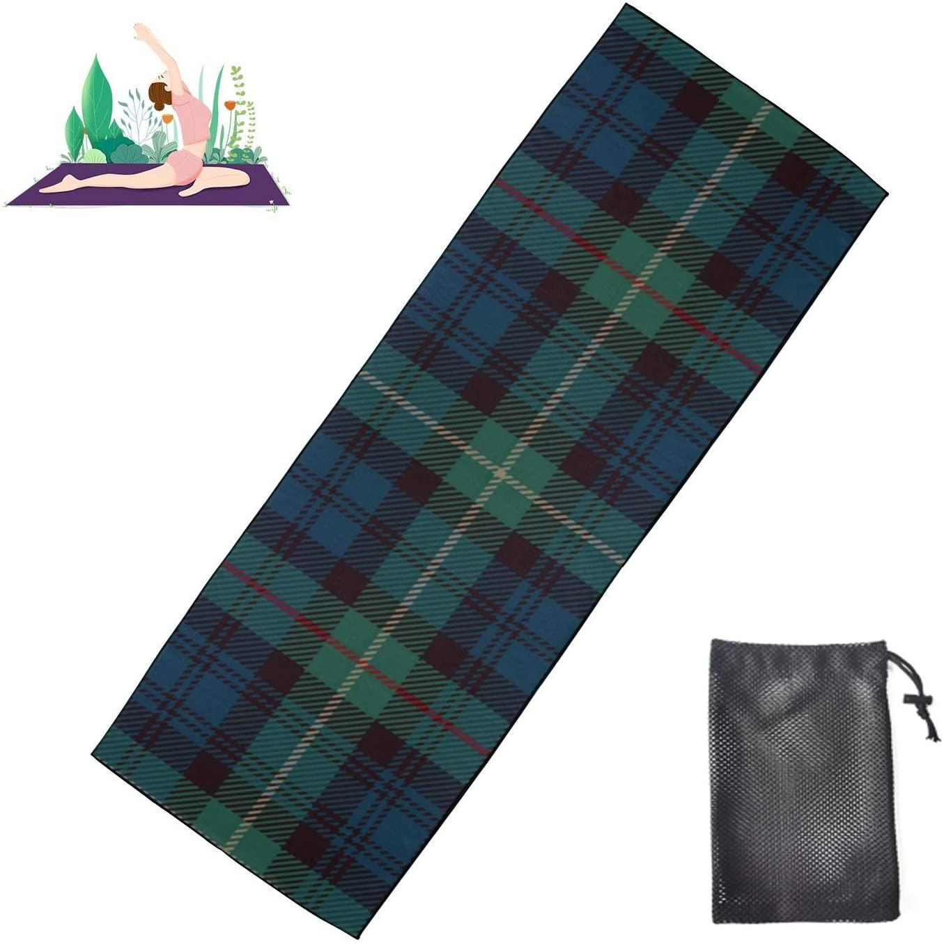 JGYJF Modern Yoga Mat Tartan Blue Black Cute Yoga Mat Microfiber Super Soft and Sweat Absorbent, Ideal for Hot Yoga, Pilates and Workout
