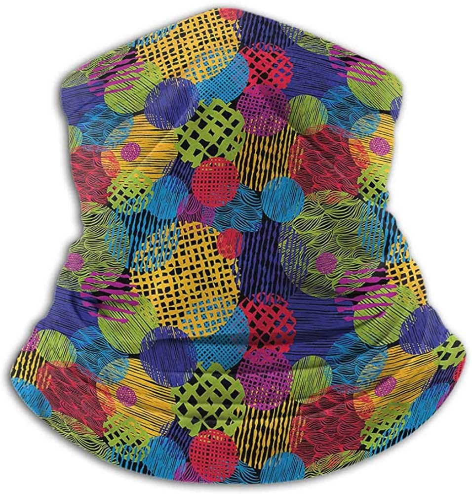 Bandanas For Men Funky Winter Neck Gaiter Geometric Sketchy Forms 10 x 12 Inch