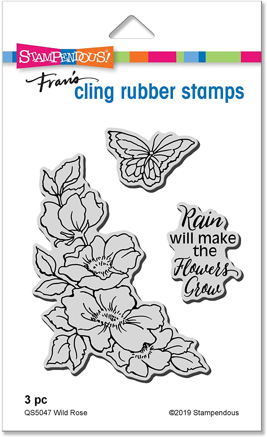 STAMPENDOUS CLING RUBBER STAMP WILD ROSE
