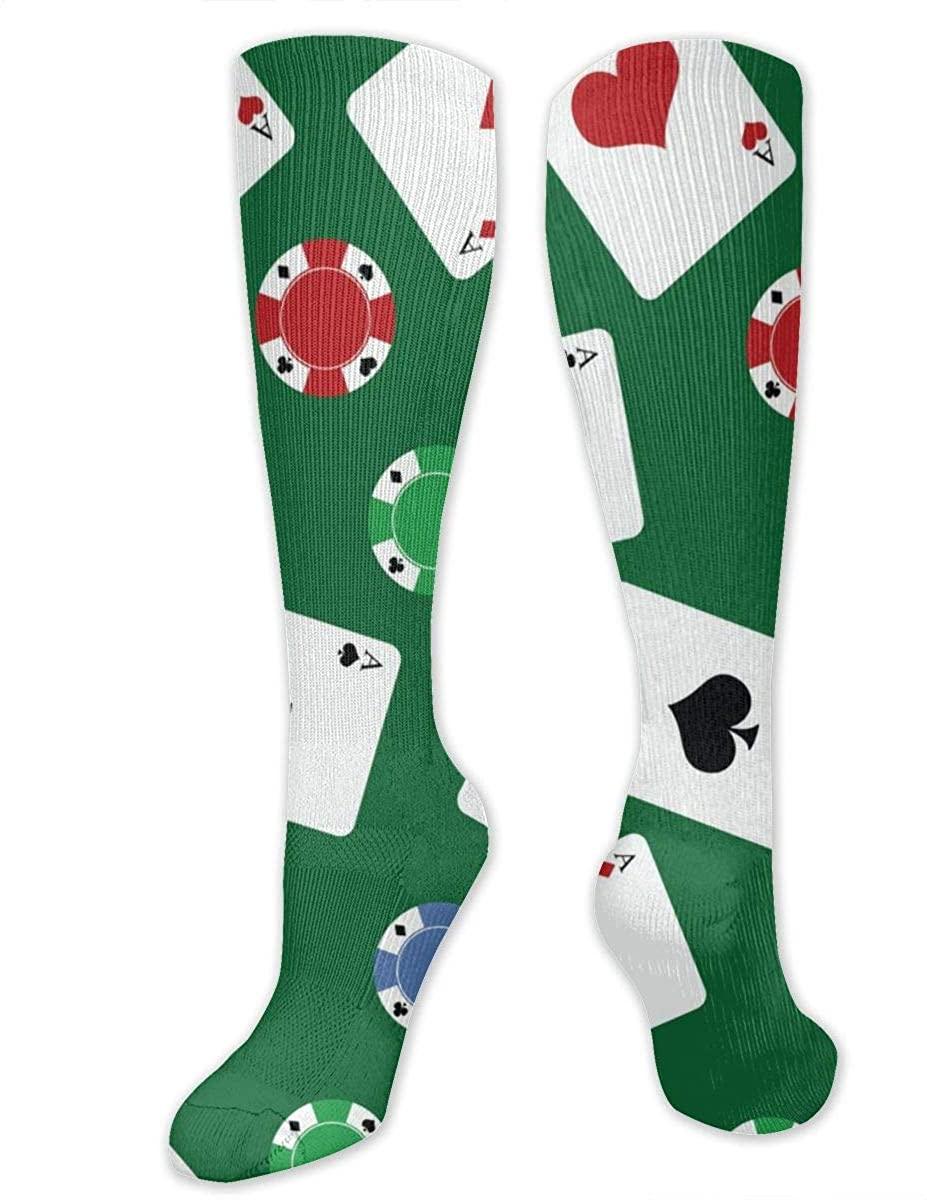 Men Women Knee High Socks Gambling Poker Chips Play Cards Boot Crew Hose Long Stockings